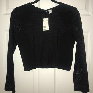 Mesh Patterned Long Sleeve Crop Top